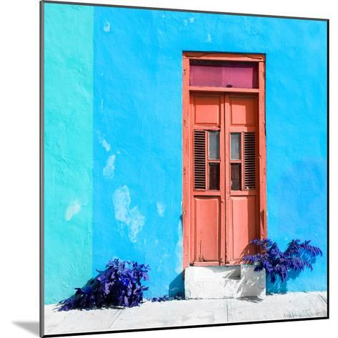 ¡Viva Mexico! Square Collection - Coral Door & Blue Wall in Campeche-Philippe Hugonnard-Mounted Photographic Print