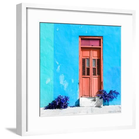 ¡Viva Mexico! Square Collection - Coral Door & Blue Wall in Campeche-Philippe Hugonnard-Framed Art Print
