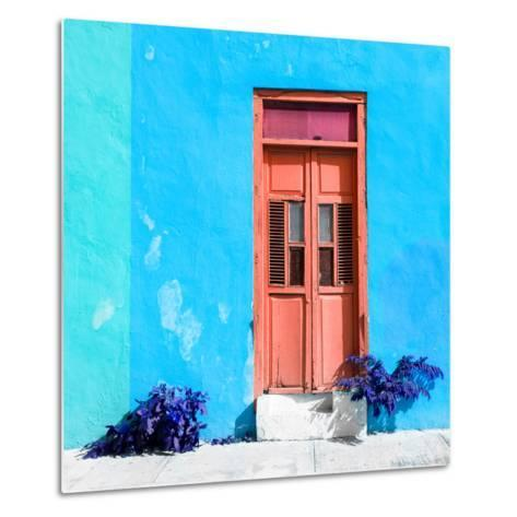 ¡Viva Mexico! Square Collection - Coral Door & Blue Wall in Campeche-Philippe Hugonnard-Metal Print