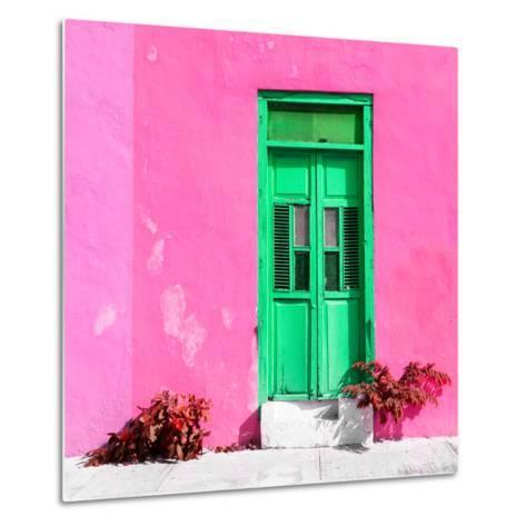 ¡Viva Mexico! Square Collection - Green Door & Pink Wall in Campeche-Philippe Hugonnard-Metal Print
