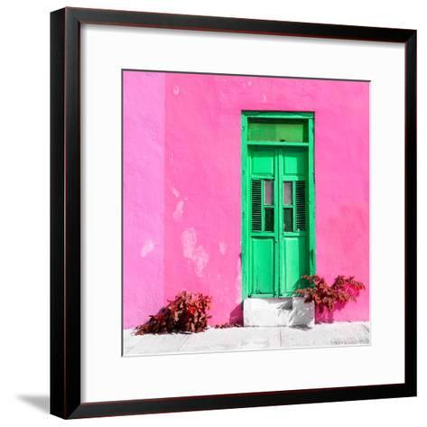¡Viva Mexico! Square Collection - Green Door & Pink Wall in Campeche-Philippe Hugonnard-Framed Art Print