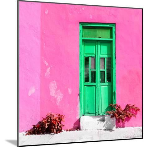 ¡Viva Mexico! Square Collection - Green Door & Pink Wall in Campeche-Philippe Hugonnard-Mounted Photographic Print