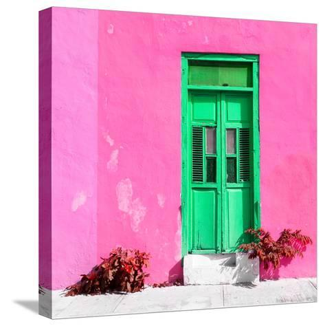¡Viva Mexico! Square Collection - Green Door & Pink Wall in Campeche-Philippe Hugonnard-Stretched Canvas Print