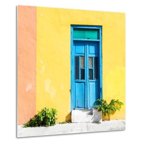¡Viva Mexico! Square Collection - Blue Door & Yellow Wall in Campeche-Philippe Hugonnard-Metal Print