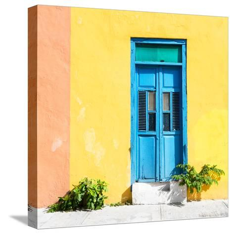 ¡Viva Mexico! Square Collection - Blue Door & Yellow Wall in Campeche-Philippe Hugonnard-Stretched Canvas Print