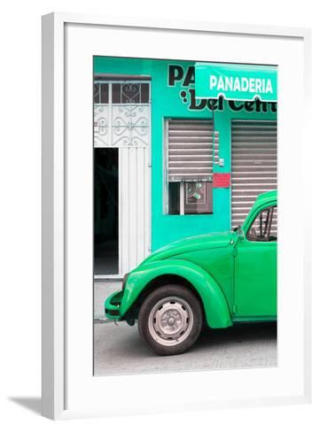 ¡Viva Mexico! Collection - Green VW Beetle Car-Philippe Hugonnard-Framed Art Print