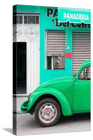 ¡Viva Mexico! Collection - Green VW Beetle Car-Philippe Hugonnard-Stretched Canvas Print