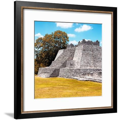 ¡Viva Mexico! Square Collection - Mayan Ruins with Fall Colors - Edzna II-Philippe Hugonnard-Framed Art Print