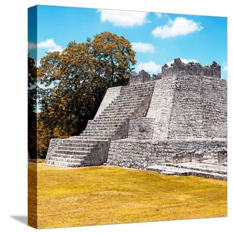 ¡Viva Mexico! Square Collection - Mayan Ruins with Fall Colors - Edzna II-Philippe Hugonnard-Stretched Canvas Print