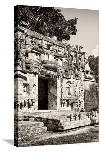 ?Viva Mexico! B&W Collection - Hochob Mayan Pyramids VI - Campeche-Philippe Hugonnard-Stretched Canvas Print
