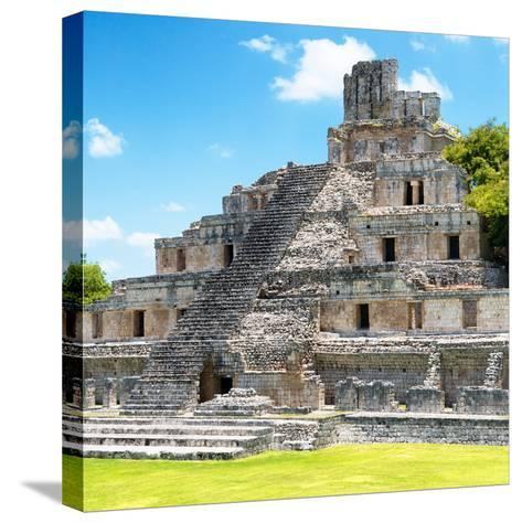 ¡Viva Mexico! Square Collection - Mayan Ruins - Edzna V-Philippe Hugonnard-Stretched Canvas Print