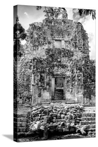 ¡Viva Mexico! B&W Collection - Mayan Ruins VI-Philippe Hugonnard-Stretched Canvas Print