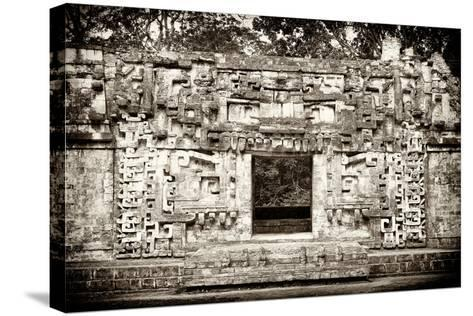 ¡Viva Mexico! B&W Collection - Hochob Mayan Pyramids - Campeche-Philippe Hugonnard-Stretched Canvas Print