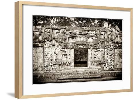 ¡Viva Mexico! B&W Collection - Hochob Mayan Pyramids - Campeche-Philippe Hugonnard-Framed Art Print