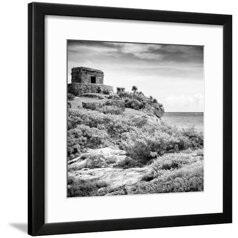 ¡Viva Mexico! Square Collection - Ancient Mayan Fortress in Riviera Maya V - Tulum-Philippe Hugonnard-Framed Art Print
