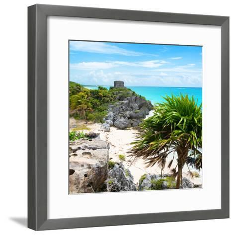 ¡Viva Mexico! Square Collection - Tulum Ruins along Caribbean Coastline-Philippe Hugonnard-Framed Art Print
