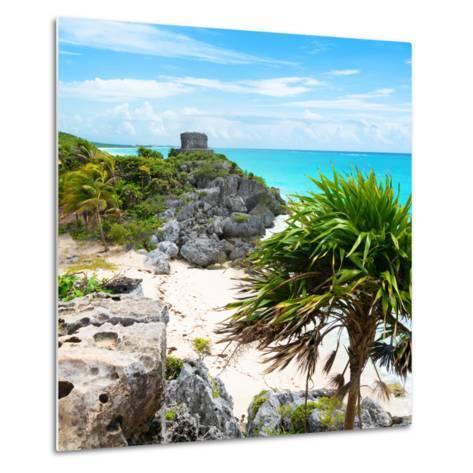 ¡Viva Mexico! Square Collection - Tulum Ruins along Caribbean Coastline-Philippe Hugonnard-Metal Print
