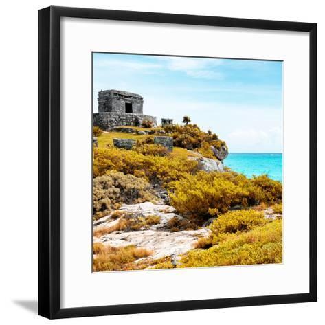 ¡Viva Mexico! Square Collection - Ancient Mayan Fortress in Riviera Maya VI - Tulum-Philippe Hugonnard-Framed Art Print