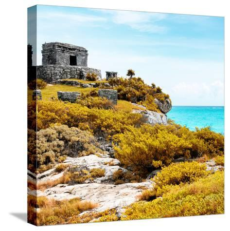 ¡Viva Mexico! Square Collection - Ancient Mayan Fortress in Riviera Maya VI - Tulum-Philippe Hugonnard-Stretched Canvas Print
