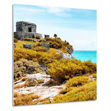 ¡Viva Mexico! Square Collection - Ancient Mayan Fortress in Riviera Maya VI - Tulum-Philippe Hugonnard-Metal Print