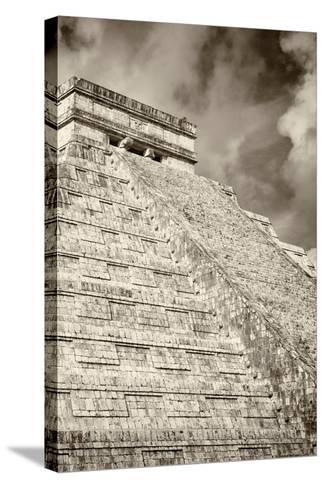 ?Viva Mexico! B&W Collection - Chichen Itza Pyramid XV-Philippe Hugonnard-Stretched Canvas Print