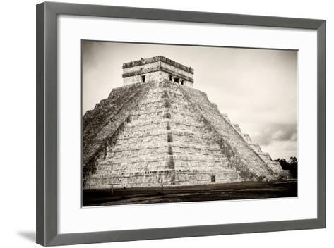 ¡Viva Mexico! B&W Collection - Chichen Itza Pyramid XXI-Philippe Hugonnard-Framed Art Print