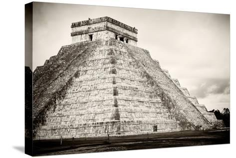 ¡Viva Mexico! B&W Collection - Chichen Itza Pyramid XXI-Philippe Hugonnard-Stretched Canvas Print