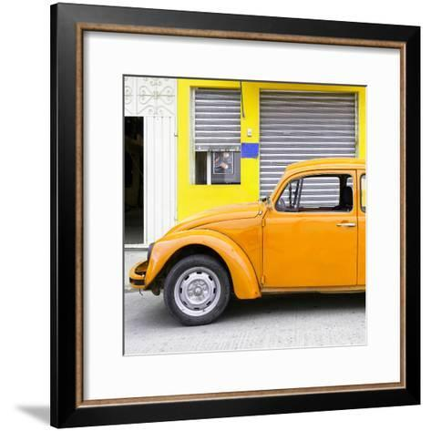 ¡Viva Mexico! Square Collection - Orange VW Beetle and Yellow Facade-Philippe Hugonnard-Framed Art Print