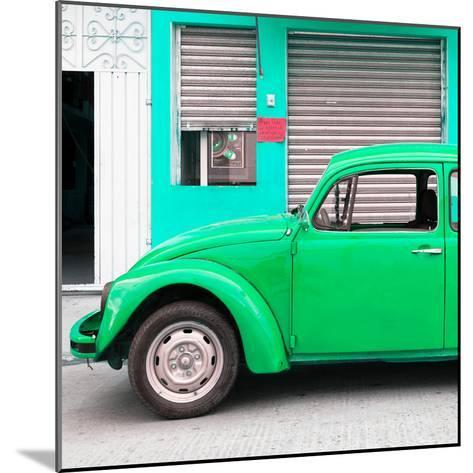 ¡Viva Mexico! Square Collection - Green VW Beetle and Coral Green Facade-Philippe Hugonnard-Mounted Photographic Print