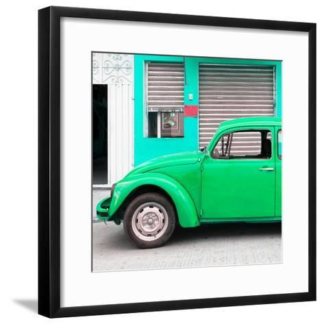 ¡Viva Mexico! Square Collection - Green VW Beetle and Coral Green Facade-Philippe Hugonnard-Framed Art Print