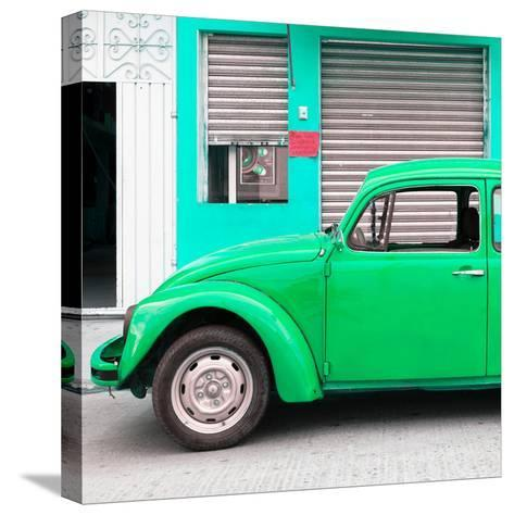 ¡Viva Mexico! Square Collection - Green VW Beetle and Coral Green Facade-Philippe Hugonnard-Stretched Canvas Print