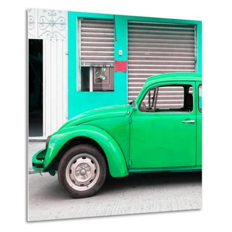 ¡Viva Mexico! Square Collection - Green VW Beetle and Coral Green Facade-Philippe Hugonnard-Metal Print