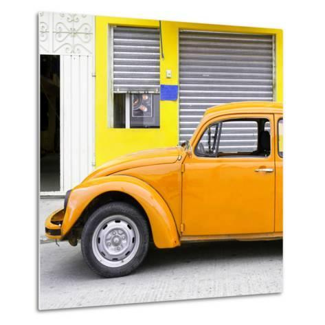 ¡Viva Mexico! Square Collection - Orange VW Beetle and Yellow Facade-Philippe Hugonnard-Metal Print