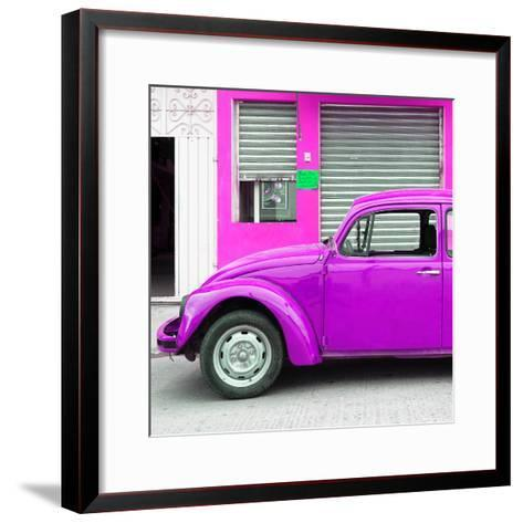 ¡Viva Mexico! Square Collection - Purple VW Beetle and Deep Pink Facade-Philippe Hugonnard-Framed Art Print
