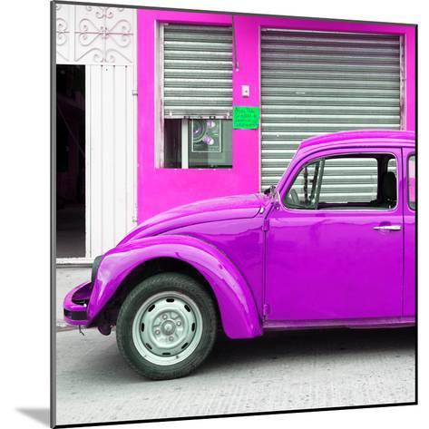 ¡Viva Mexico! Square Collection - Purple VW Beetle and Deep Pink Facade-Philippe Hugonnard-Mounted Photographic Print