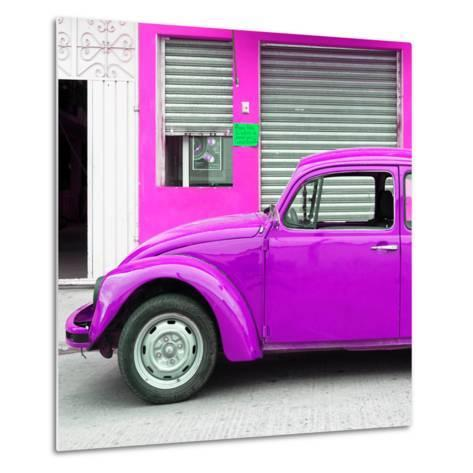 ¡Viva Mexico! Square Collection - Purple VW Beetle and Deep Pink Facade-Philippe Hugonnard-Metal Print