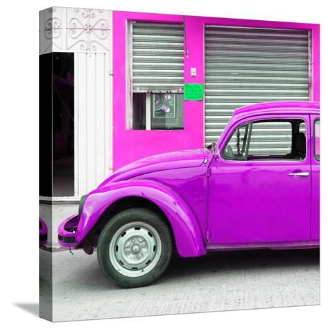 ¡Viva Mexico! Square Collection - Purple VW Beetle and Deep Pink Facade-Philippe Hugonnard-Stretched Canvas Print