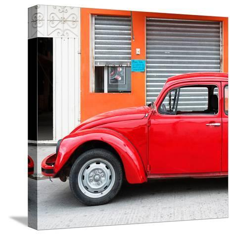 ¡Viva Mexico! Square Collection - Red VW Beetle and Orange Facade-Philippe Hugonnard-Stretched Canvas Print