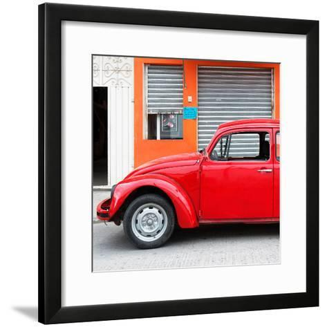 ¡Viva Mexico! Square Collection - Red VW Beetle and Orange Facade-Philippe Hugonnard-Framed Art Print
