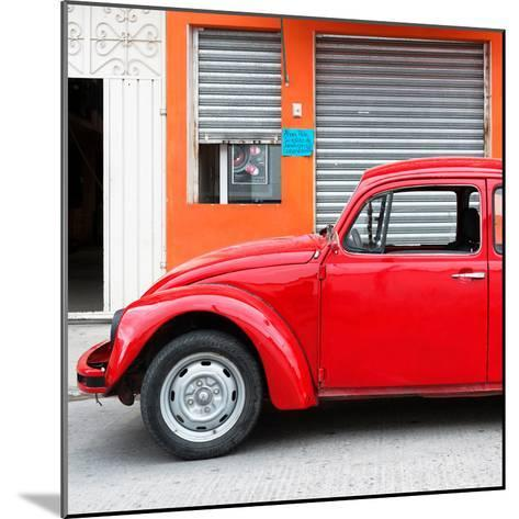¡Viva Mexico! Square Collection - Red VW Beetle and Orange Facade-Philippe Hugonnard-Mounted Photographic Print
