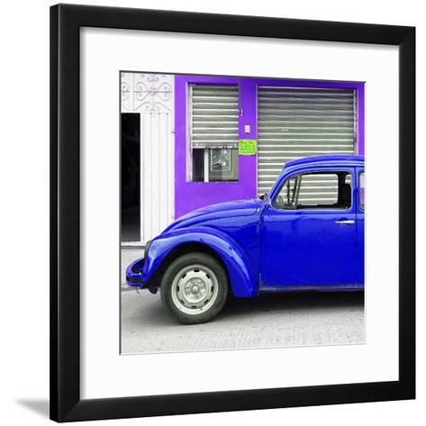 ¡Viva Mexico! Square Collection - Royal Blue VW Beetle and Purple Facade-Philippe Hugonnard-Framed Art Print