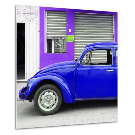 ¡Viva Mexico! Square Collection - Royal Blue VW Beetle and Purple Facade-Philippe Hugonnard-Metal Print