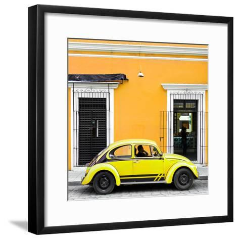 ¡Viva Mexico! Square Collection - VW Beetle Car - Gold & Yellow-Philippe Hugonnard-Framed Art Print