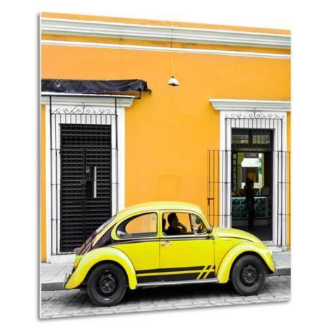 ¡Viva Mexico! Square Collection - VW Beetle Car - Gold & Yellow-Philippe Hugonnard-Metal Print