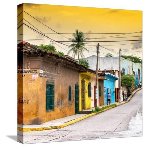 ¡Viva Mexico! Square Collection - Colorful Mexican Street at Sunset II-Philippe Hugonnard-Stretched Canvas Print