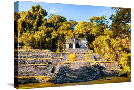 ¡Viva Mexico! Collection - Mayan Ruins with Fall Colors in Palenque-Philippe Hugonnard-Stretched Canvas Print