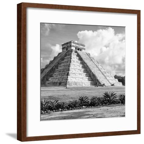 ¡Viva Mexico! Square Collection - El Castillo Pyramid in Chichen Itza VIII-Philippe Hugonnard-Framed Art Print