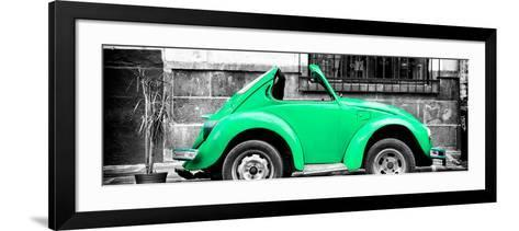 ¡Viva Mexico! Panoramic Collection - Small Green VW Beetle Car-Philippe Hugonnard-Framed Art Print