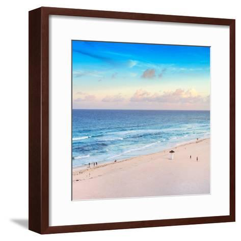 ¡Viva Mexico! Square Collection - Ocean View at Sunset in Cancun-Philippe Hugonnard-Framed Art Print
