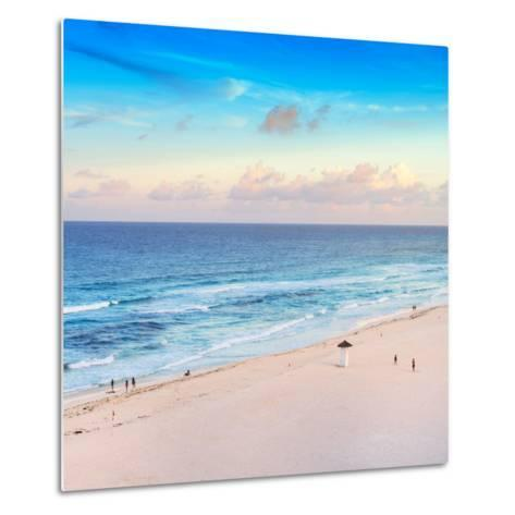 ¡Viva Mexico! Square Collection - Ocean View at Sunset in Cancun-Philippe Hugonnard-Metal Print